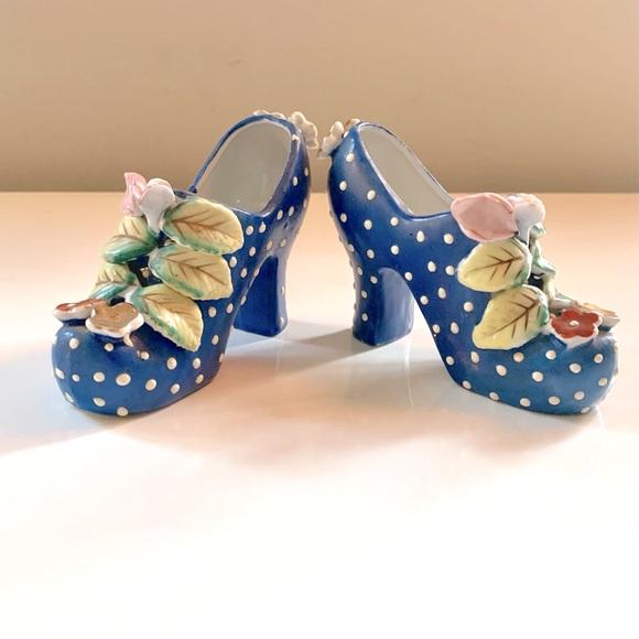 🌸2for$30🌸Porcelain Shoe Planters Dots & Flowers